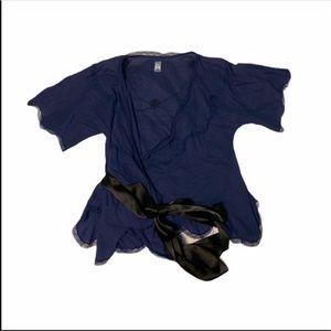 Free People Lace Trip Purple Satin Wrap Blouse Short Sleeve Top Size 2